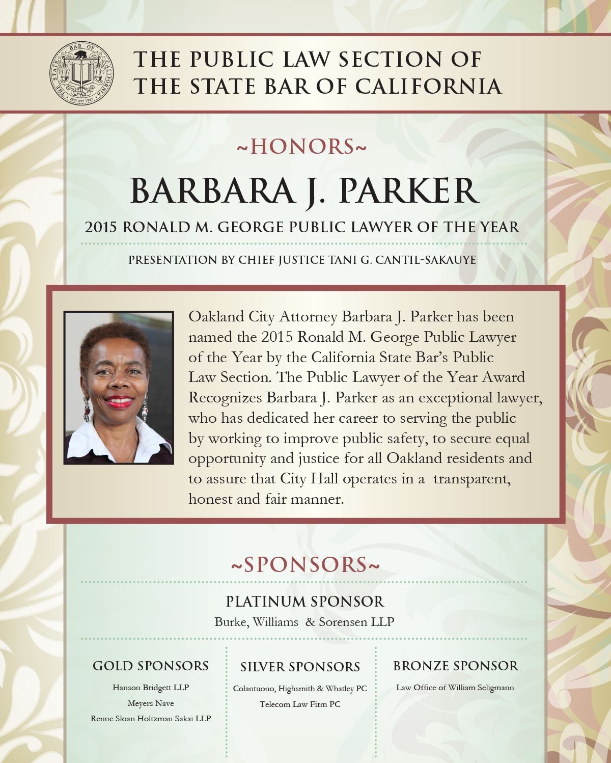 State Bar of California Public Lawyer of the Year